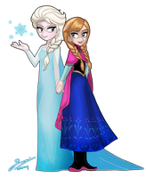 FROZEN Anna and Elsa by SandikaRakhim