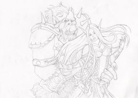 Orc and Elf stage 1 by ShelandryStudio