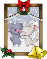 Holiday Portrait - Espurr x Minccino by LudiculousPegasus