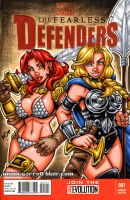 Red Sonja + Valkyrie sketch cover by gb2k