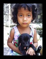Cambodian Girl with Puppy by CapitalT