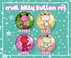 Fruit Kitties Button Set by ShoriAmeshiko