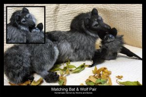 Dark Gray Wolf and Bat Pair by WormsandBones