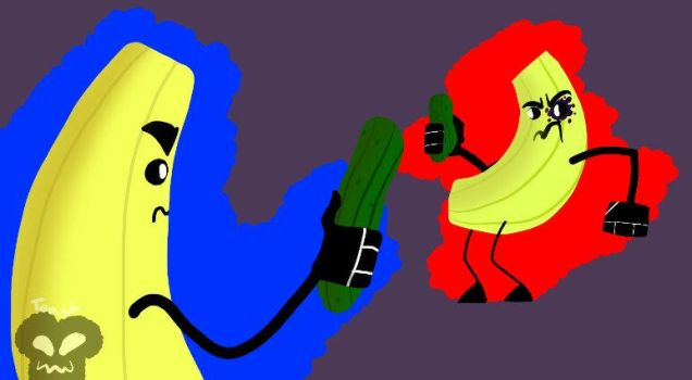 Two bananas having a sword fight with cucumbers by TheRandomToast