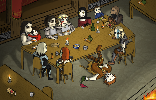 The Dragonborn's Dinner Party (Digital) by LucidFoxe