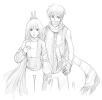 OC sketch - Sera and Nate by z3lyn