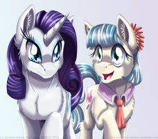 Rarity and Coco Pommel by InuHoshi-to-DarkPen
