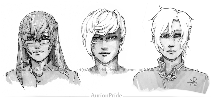 my OCs - headshots - sketches by AurionPride