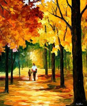 Stroll in the forest by L.Afremov by Leonidafremov