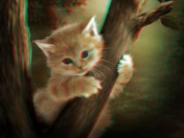 Kitten in a Tree 3-D conversion by MVRamsey
