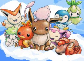Cloud Nine: Eevee Mew Vulpix.. by Leafye