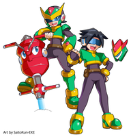 Commission: Aven and Mega Man Model Q by SaitoKun-EXE