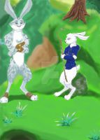 Bunnymund and Jack at Warren by AuroraBluewolf
