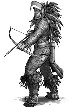 Aztec Eagle Warrior with Bow by Druakim