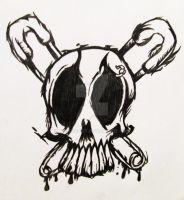 skull with safety pins by kthehobbit