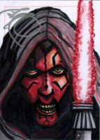 Darth Maul Autographed ACEO by HalHefnerART