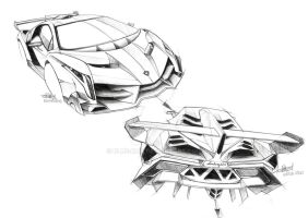 Lamborghini Veneno Sketch by Blue-Raie