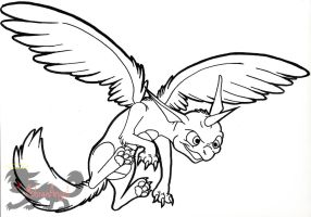 Skylanders- Whirlwind (lineart) by Sophie-The-Skunk