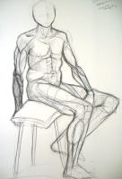 Life Drawing-Sitting man 3 by SpaceDragon