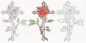 Rose Cross Tattoo Set by CrystalBlueDragon