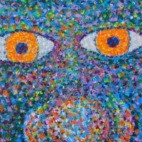 Blue Face in Pointillism - Acrylic by rebeccamichellelee