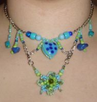 Light blue and green necklace by ammajiger