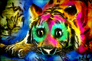 Digital Painting: Dreamless Tiger by UkuleleMoon
