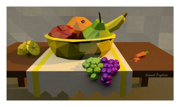 Low polygon - Artwork - Still Life - Fruit Basket by KemaLDesign