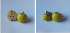 Polymer Clay Green Apple Stud Earrings by ChroniclesOfKate