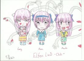 Elfen Lied - Chibi style by littleDragon14