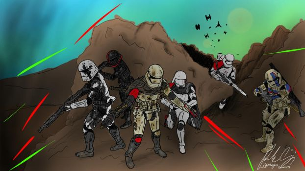 First order storming the hills of Ord Mantell  by XxcrunXtrrxX