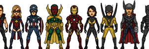 Avengers 2nd formation (Marvel Earth-616-19999) by LoganWaynee