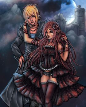 Lovers under the Silver Moon by VividIllustrator