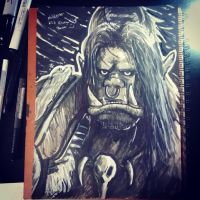 Inktober: Grom Hellscream (with video) by Rhunyc