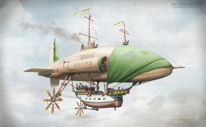 The pirate airship Dryad by SpikedMcGrath