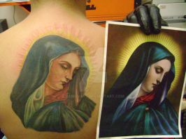 virgen maria tattoo by kamuyart