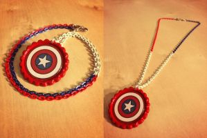 Super Deluxe Patriotic Captain America Necklace by Monostache