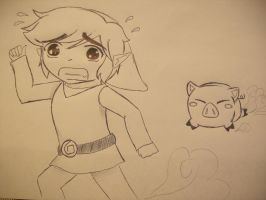 The Pig Chases Link by girloveslink