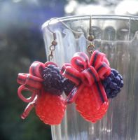 Polymer Mixed Berry Ribbon Earrings by cynamonspice
