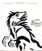 Smile Raptor Ink Drawing by sw-eden