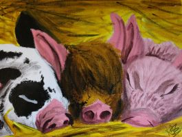 Three sleeping pigs by TheArtyMadCow
