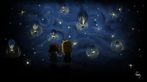 Balloons at night by LeonieIsaacs