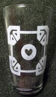 Portal Companion Cube greek key pint glass by coventrydecor