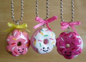 kawaii glazed donut necklaces by jbphillips