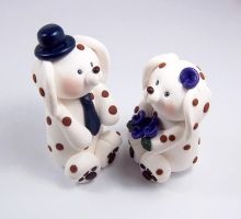 Brown Spotted Dalmatians Wedding Cake Topper by HeartshapedCreations