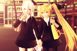 [MMD] After School - Haku Yowane x Neru Akita by hailualendoi5195