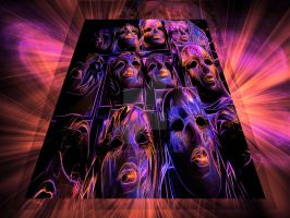 neon faces by carsonations