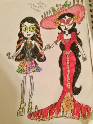Skelita and La Muerte: Mother and Daughter by Paleogirl47