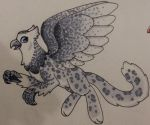 Snowy Owl and Snow Leopard Griffon by ScratchDixie