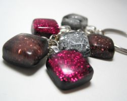 6 Small Resin Squares Keychain by ExperienceDesigns